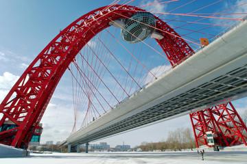 Modern suspended bridge in Moscow (Zhivopisny bridge)