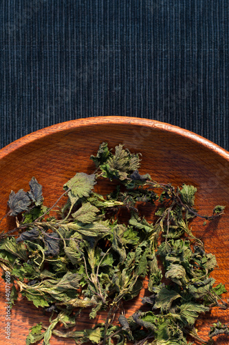 Dried nettle in a plate