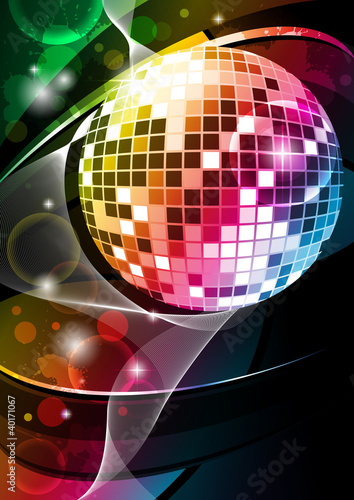 """event flyer """"discoball"""""""