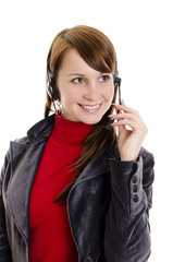 A woman operator support with microphone.