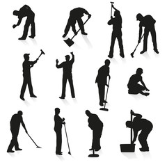 Set of twelve black silhouettes of cleaners