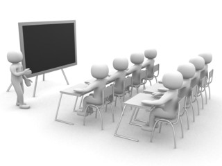 3d person showing the blackboard by hand.