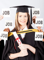 successful female university graduate with job offers