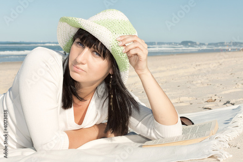 attractive woman relax on the beach