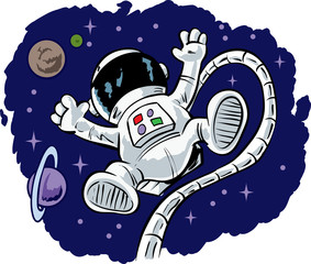 Cute floating Astronaut