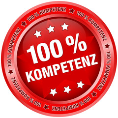 "Button ""100 % Kompetenz"" rot"