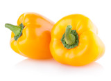 yellow paprika peppers isolated on white background