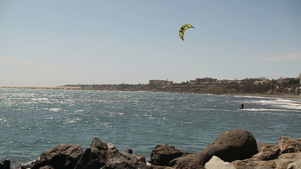 Kitesurfer on the sea, slow motion