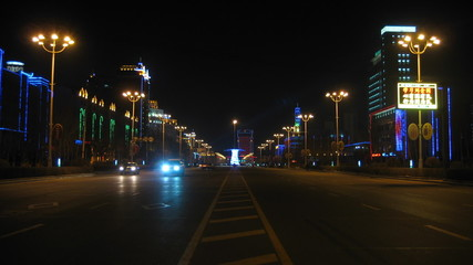 Heihe (China) Night Street Traffic timelapse