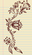 Sketchy Doodle Henna Elegant Flowers and Vines vector