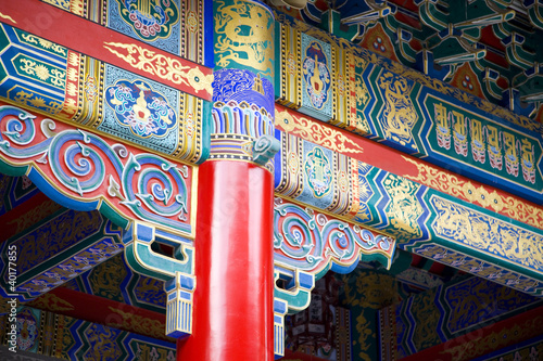 detail view of chinese old palace, with colorful details