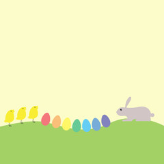 Bunny, chickens and eggs