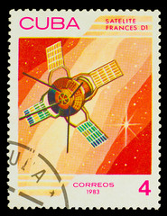 CUBA - CIRCA 1983: A stamp printed in Cuba, shows French space s