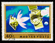 HUNGRAY- CIRCA 1974: A stamp printed in Hungary, satellite space
