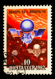 USSR - CIRCA 1982: A stamp printed in USSR, satellite space stat