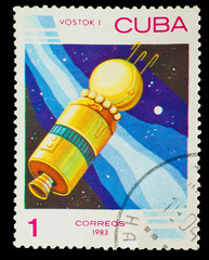 "CUBA - CIRCA 1983: stamp printed by CUBA, shows ""Vostok 1"" space"