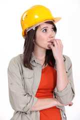 Nervous female builder