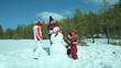 Snowman under winter sun