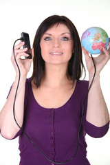 Woman with her phone connected to the world