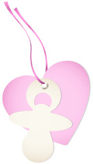Hangtag Pacifier & Heart Pink Bow
