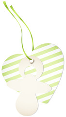 Hangtag Pacifier & Heart Stripes Green Bow