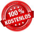 """Button Banner """"100% Kostenlos"""" rot"""