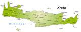 Übersichtskarte von Kreta mit Hauptstädten in grün