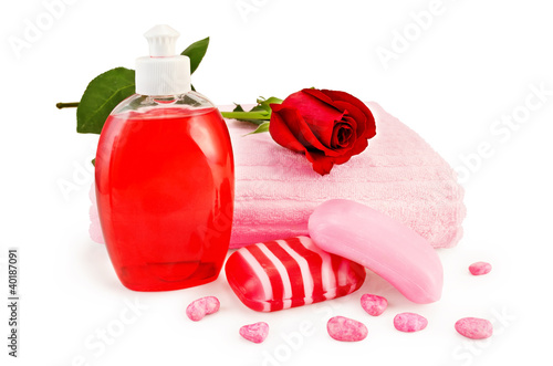 Soap different with towel and rose