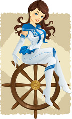 Sexy pinup sailor girl on a rudder