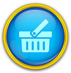 Mavi altın çerçeveli alışveriş ikonu