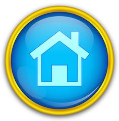 Mavi altın çerçeveli ev ikonu