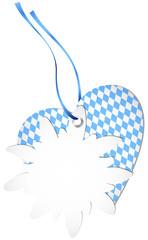 Hangtag Edelweiss & Heart Octoberfest Light Blue