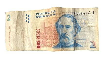Billete de dos pesos argentinos.