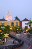historic church light night streaks Cartagena Colombia poster