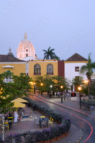 historic church light night streaks Cartagena Colombia