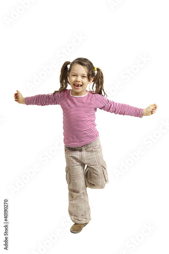 portrait of girl with open arms, isolated on white background