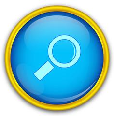 Mavi altın çerçeveli büyüteç ikonu