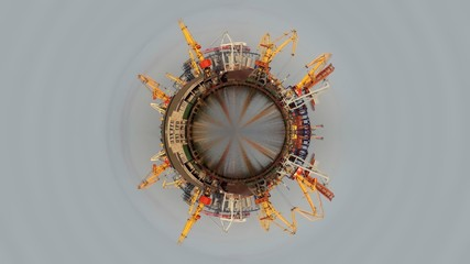 Shipment in seaports spherical panorama