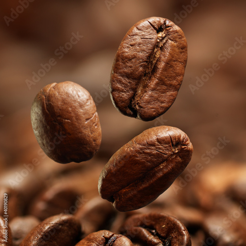 Poster Closeup of coffee beans