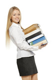 Portrait of young female holding heavy stack of books