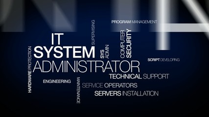 IT System Administrator sysadmin tag cloud animation