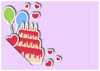 Greeting card with cake and balloons