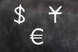Chalk drawing of money symbols