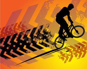 Cyclist abstract background, vector illustration