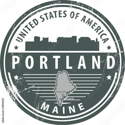Grunge rubber stamp with name of Maine, Portland, vector
