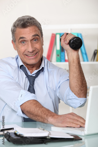 Senior businessman staying in shape