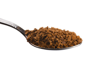 Teaspoon with granulated instant coffee