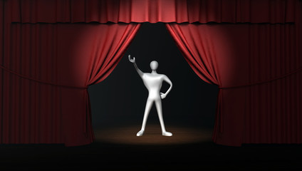 3d man with red stage curtain with spotlight on stage