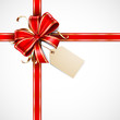 Red and gold vector gift bow with a blank tag and ribbons
