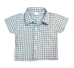 blue checkered boy shirt isolated on white